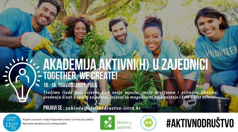 Zaklada Istra poziva da se prijaviš na Akademiju aktivni(h) u zajednici