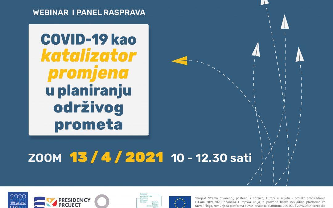 """[Sačuvajte datum] Webinar i panel rasprava """"COVID-19 kao katalizator promjena u planiranju održivog prometa"""""""