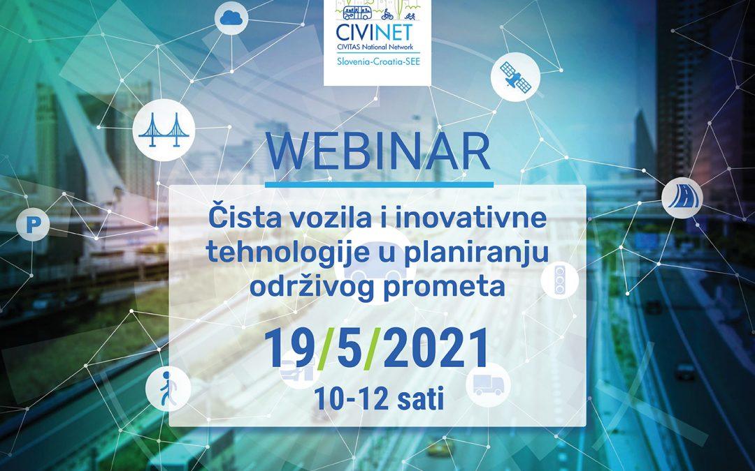 """Prijavite se na CIVINET-ov webinar """"Čista vozila i inovativne tehnologije u planiranju održivog prometa"""""""